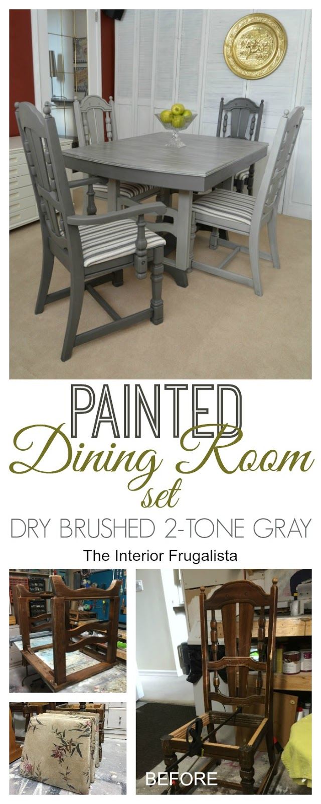 Painted Dining Room Set Before and After