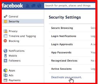 deactivate my facebook account temporarily
