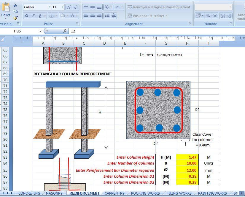 construction excel templates