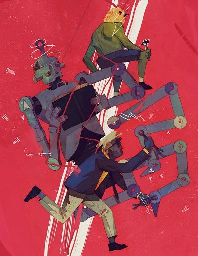 """The Robot"" by Patryk Hardziej   creative illustration art drawings, cool stuff, pictures   imagenes chidas imaginativas, ilustraciones modernas"