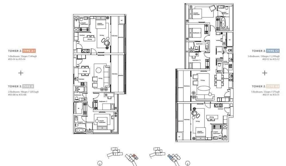 tower 2 floor plans