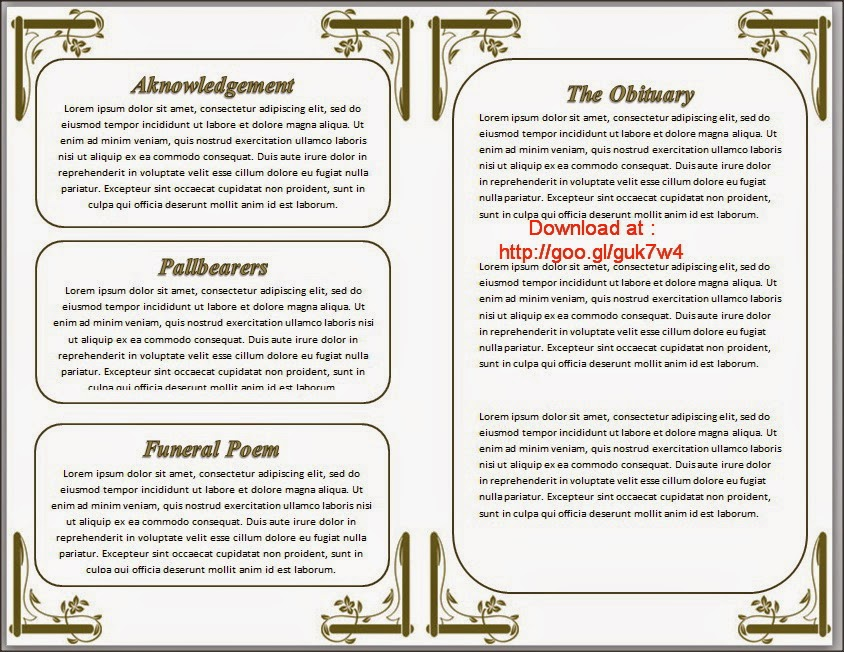 ... in Word And White Background | Funeral Program Templates Download