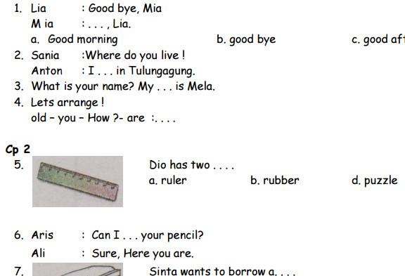 Soal UAS Bahasa Inggris SD Kelas 2 Semester 1 Terbaru