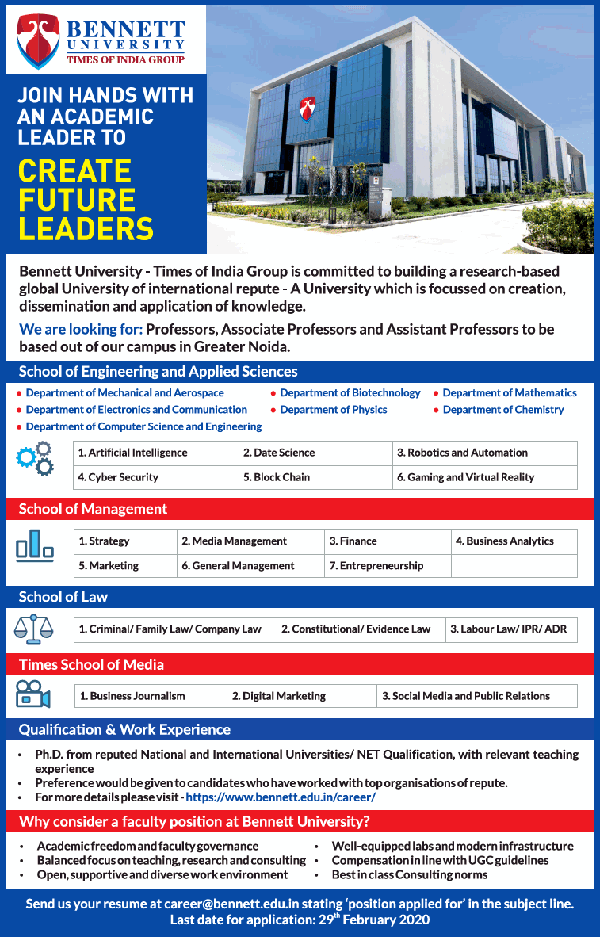 Bennet University Faculty Jobs 2020 @ Department of Biotechnology