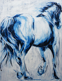 Acrylic painting of running horse