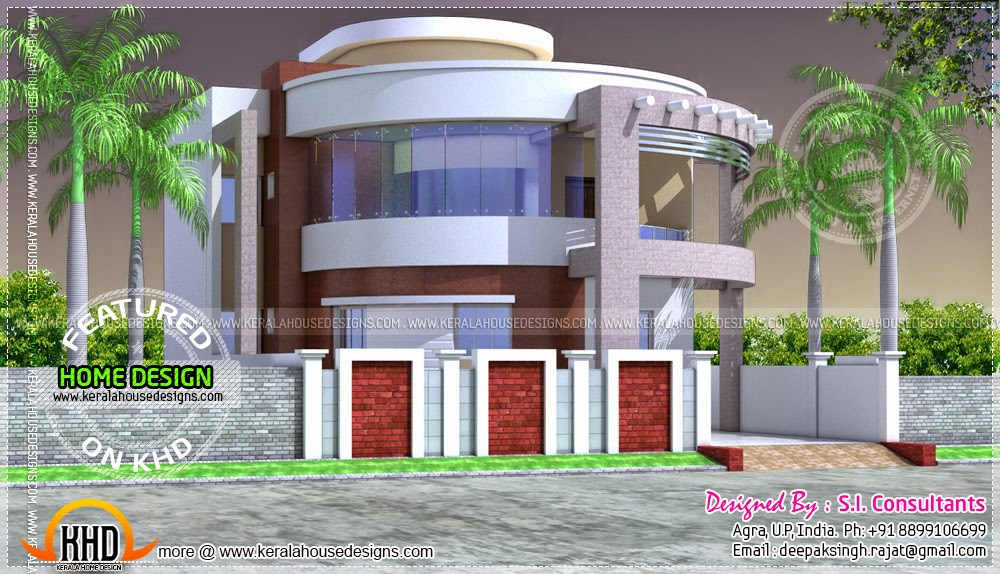 Round style contemporary house design kerala home design for Round home plans