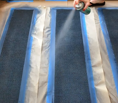 paint sisal rug with stripes