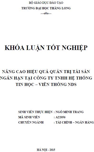 Nâng cao hiệu quả quản trị tài sản ngắn hạn tại Công ty TNHH Hệ thống tin học - Viễn thông NDS
