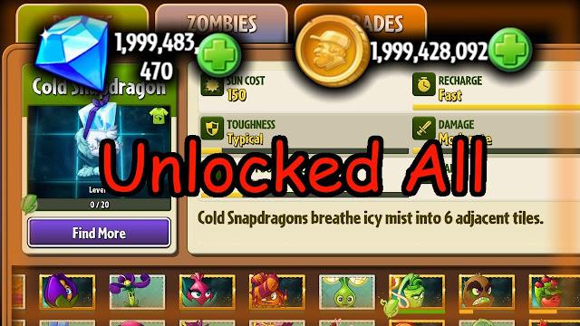 Cheats plants vs zombie 2 mod no delay ini tanpa root dapat kalian mainkan di Android, silahkan download mod plants vs zombie tersebut Unlimited Sun + Unlock all.