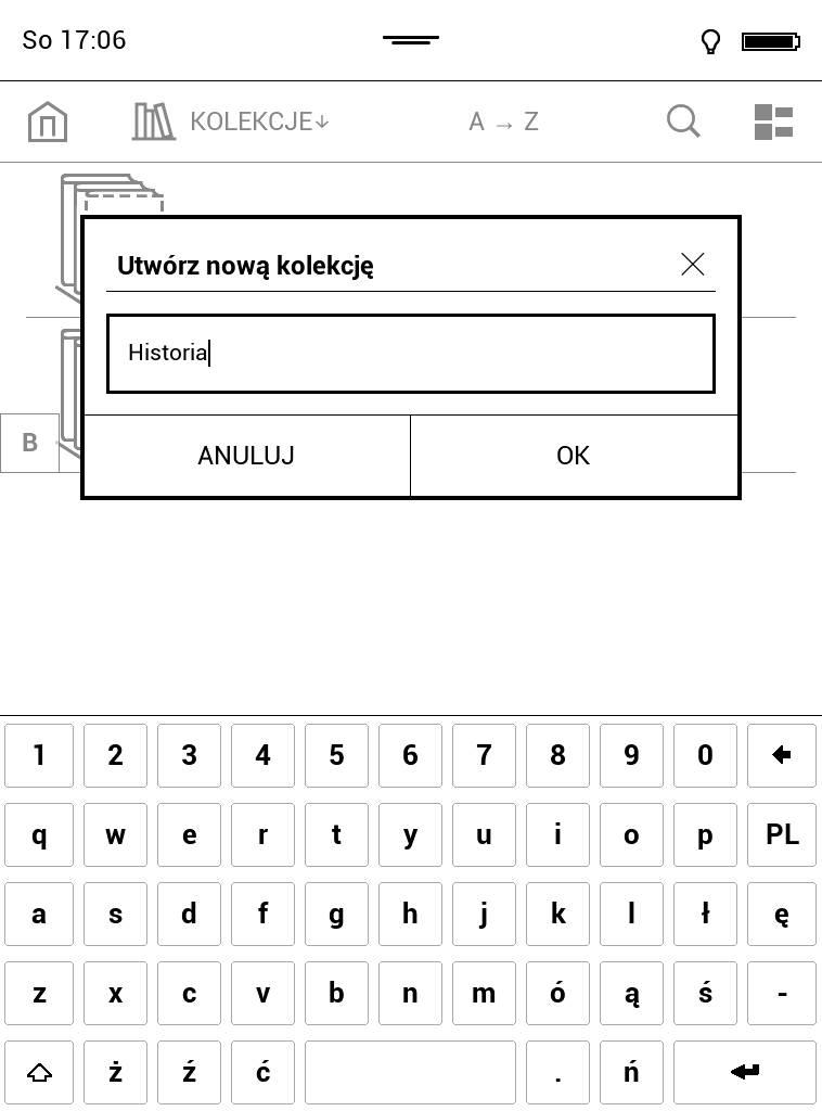 Wpisywanie nazwy kolekcji na cytniku PocketBook Touch Lux 4