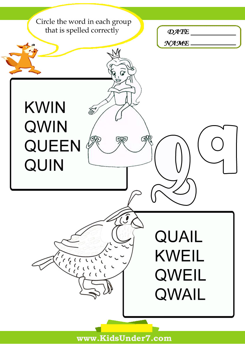 Kids Under 7: Circle the Correct Spelling of 'Q' Words