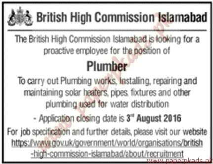 Plumbers, Islamabad, Private Jobs, Jang, Express, Dawn, Plumber required in British Commission Islamabad,