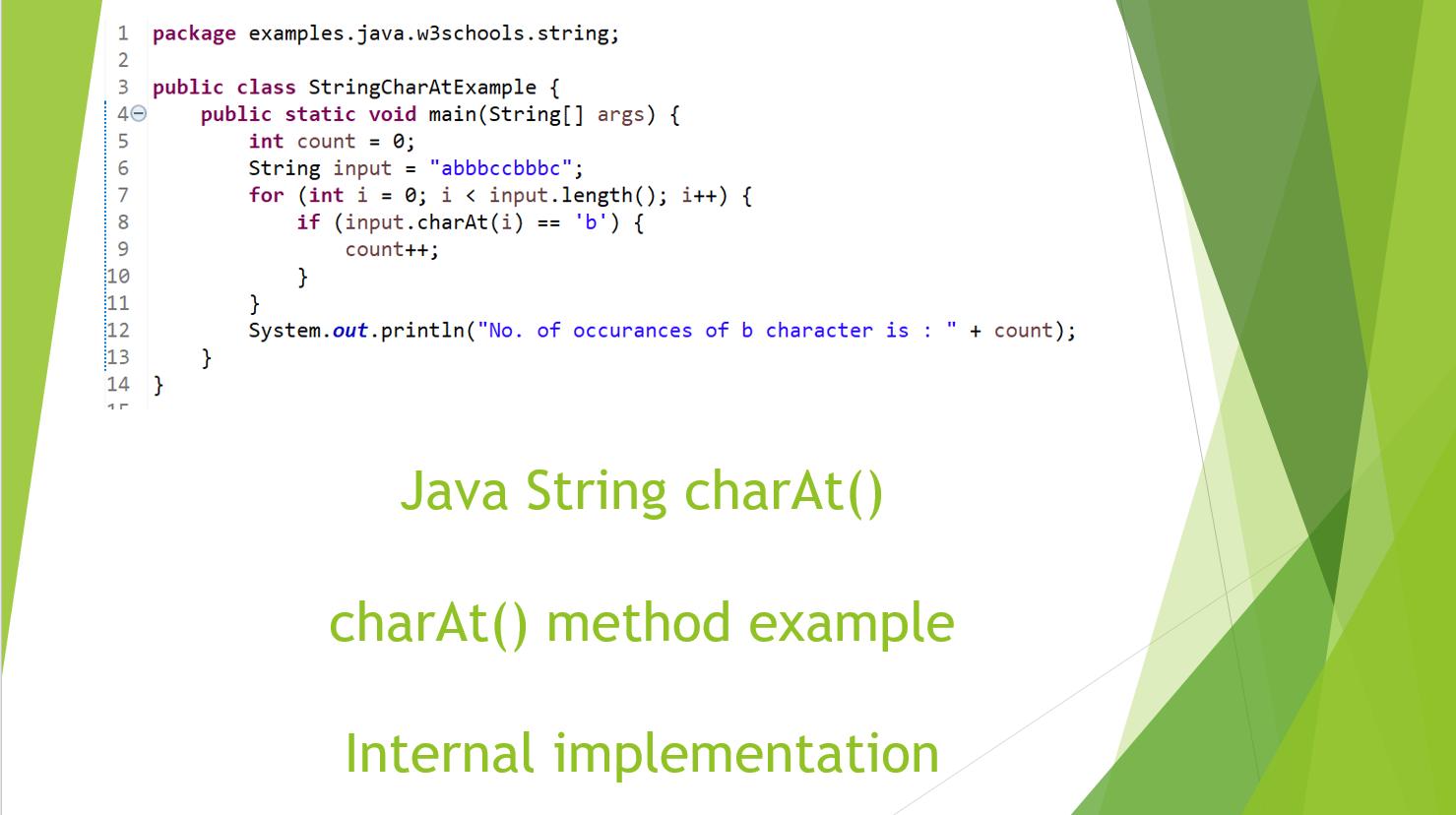 Java String charAt() Method example - Java-W3schools