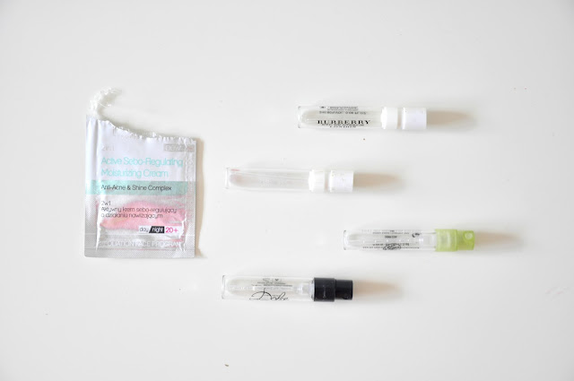 denko sierpnień - próbki perfum, próbka kremu