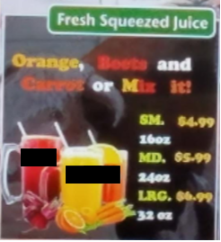 Fresh Squeezed Juice Menu with 7 different font colors