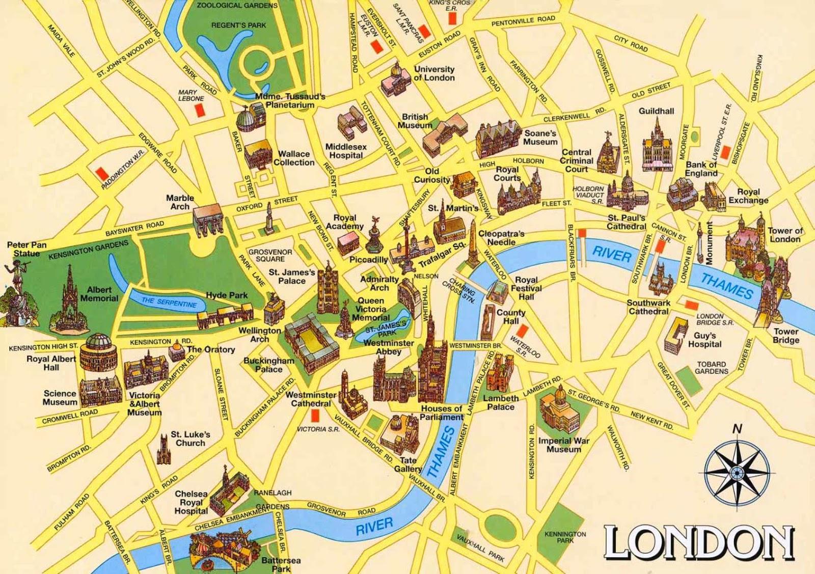 mapa de atrações de londres Mapa turístico de Londres | Dica de Londres e Inglaterra mapa de atrações de londres