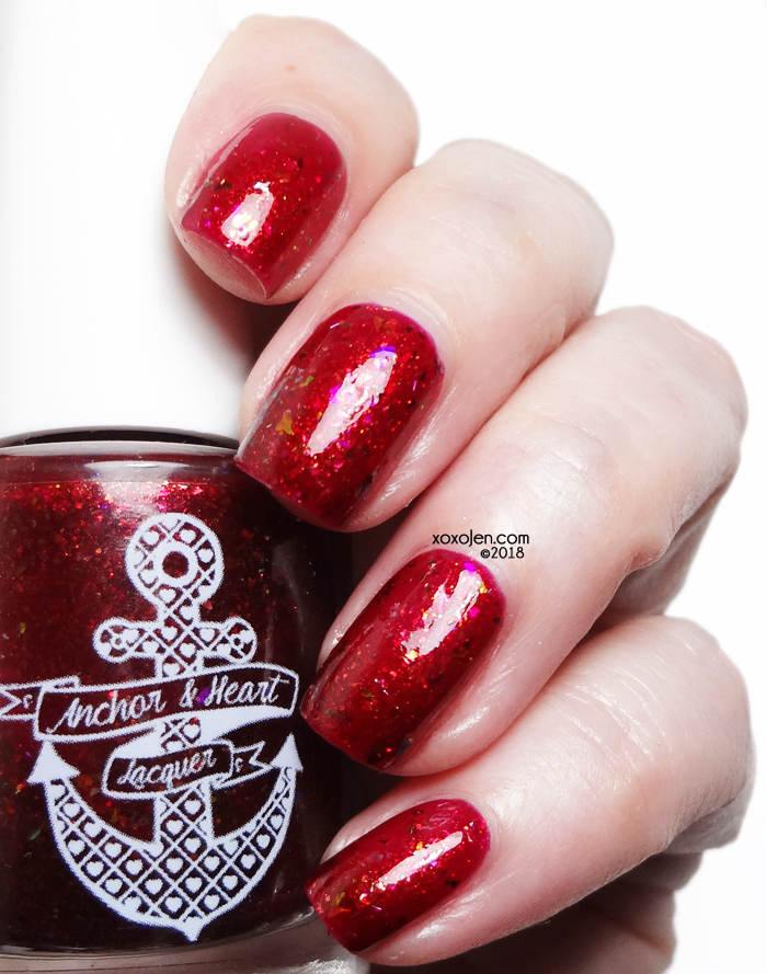 xoxoJen's swatch of Anchor & Heart Red Polish