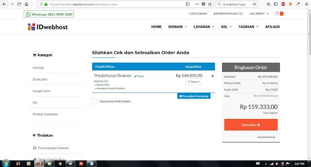 """alt=""""cara order atau membeli Domain di IDwebhost"""""""