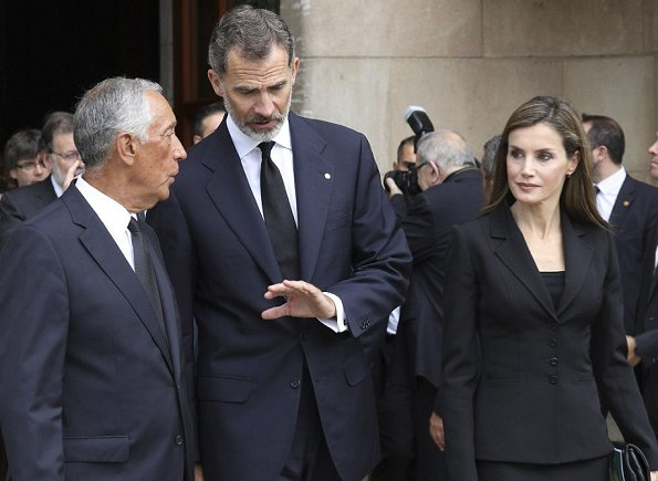 King Felipe, Queen Letizia and Portugal's President Marcelo Rebelo de Sousa attend a mass for the victims of Barcelona