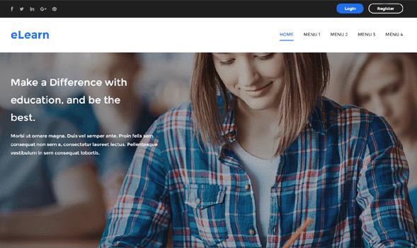 eLearn-шаблон для landing page и сайтов визиток 2016