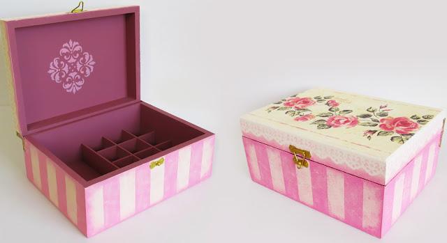 DIY: Como Fazer Caixa Decorada Vintage - Listrada rosa escuro - stencil renda