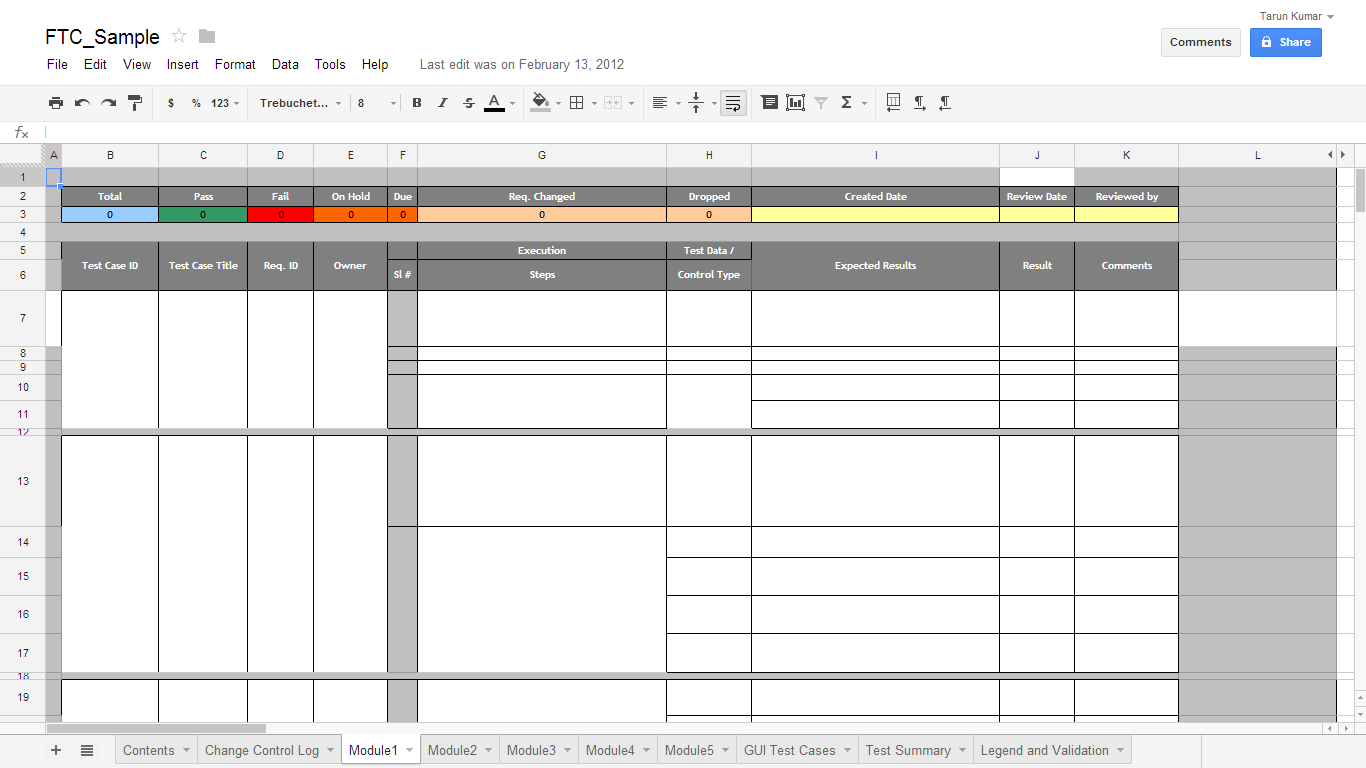 Test Cases Template Excel