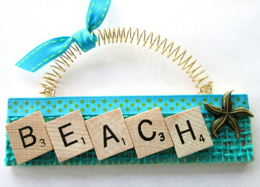 Scrabble Beach Sign Ornament