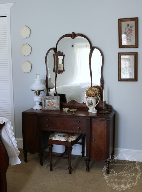 Guest Bedroom Vanity Stool Reupholstered with Kravet Guinevere Festival Toile; a french farmhouse pattern
