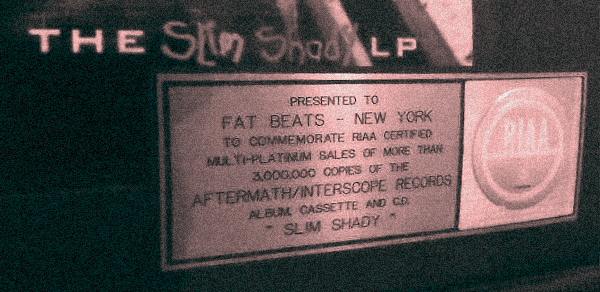 Eminem The Slim Shady LP Fat Beats Platinum Plaque