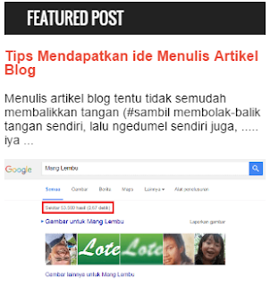 Cara Pasang widget Featured Post
