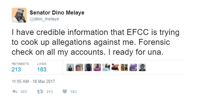 EFCC plans to arrest me, Dino Melaye says. EFCC drops subtle shade/reply