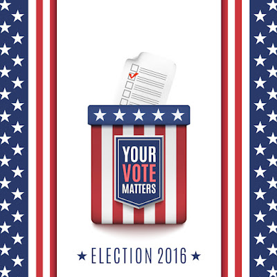 poster for election 2016.  voter box surrounded by stars and stripes.  text: Your Vote Matters