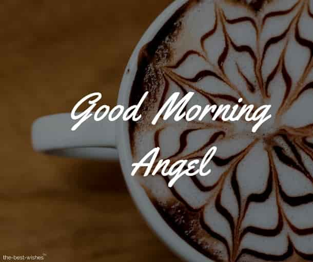 good morning angel with coffee