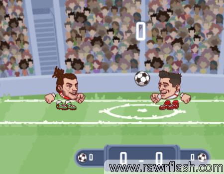 Jogo de futebol de cabeça 2D.