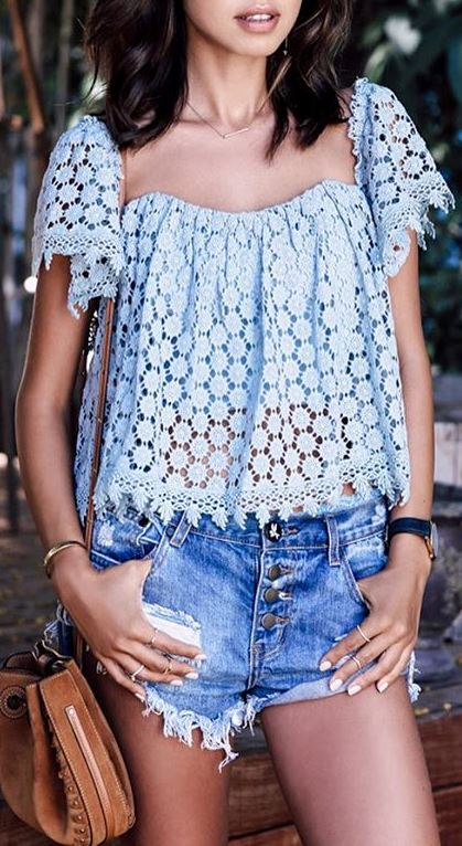 boho style addict: top + shorts + bag