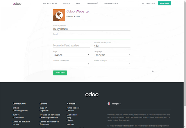 Odoo inscription à l'application Website