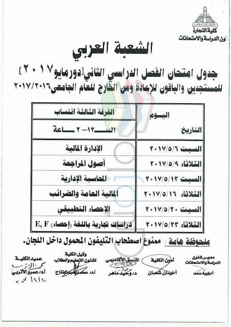 جدول امتحانات تجارة عين شمس 2017 الفرقة الثالثة انتساب