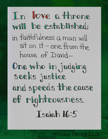 Isaiah 16:5, Scripture writing