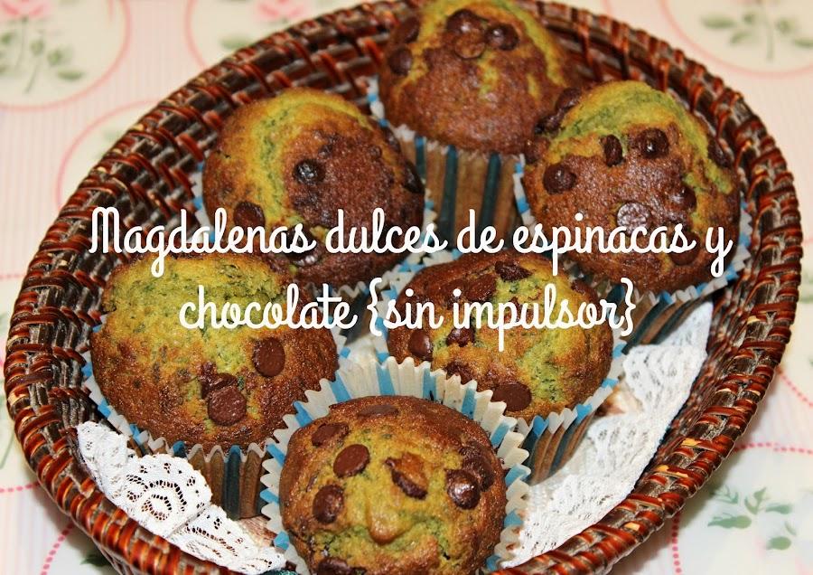 MAGDALENAS DULCES DE ESPINACAS CON PEPITAS DE CHOCOLATE {SIN LEVADURA}