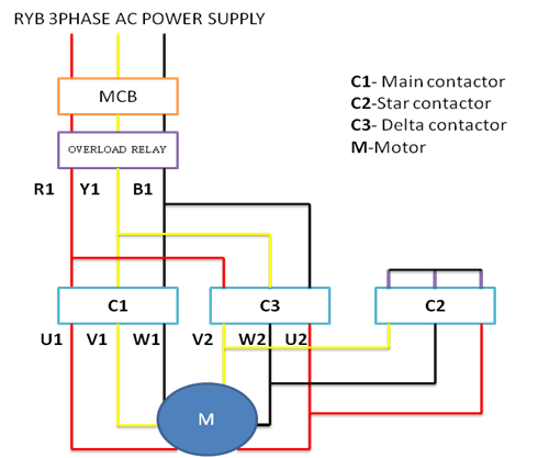 hyderabad institute of electrical engineers power circuit diagram of delta starter