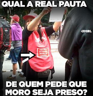 Petistas pedem que Sérgio Moro seja preso e seus politicos corruptos fiquem a solta
