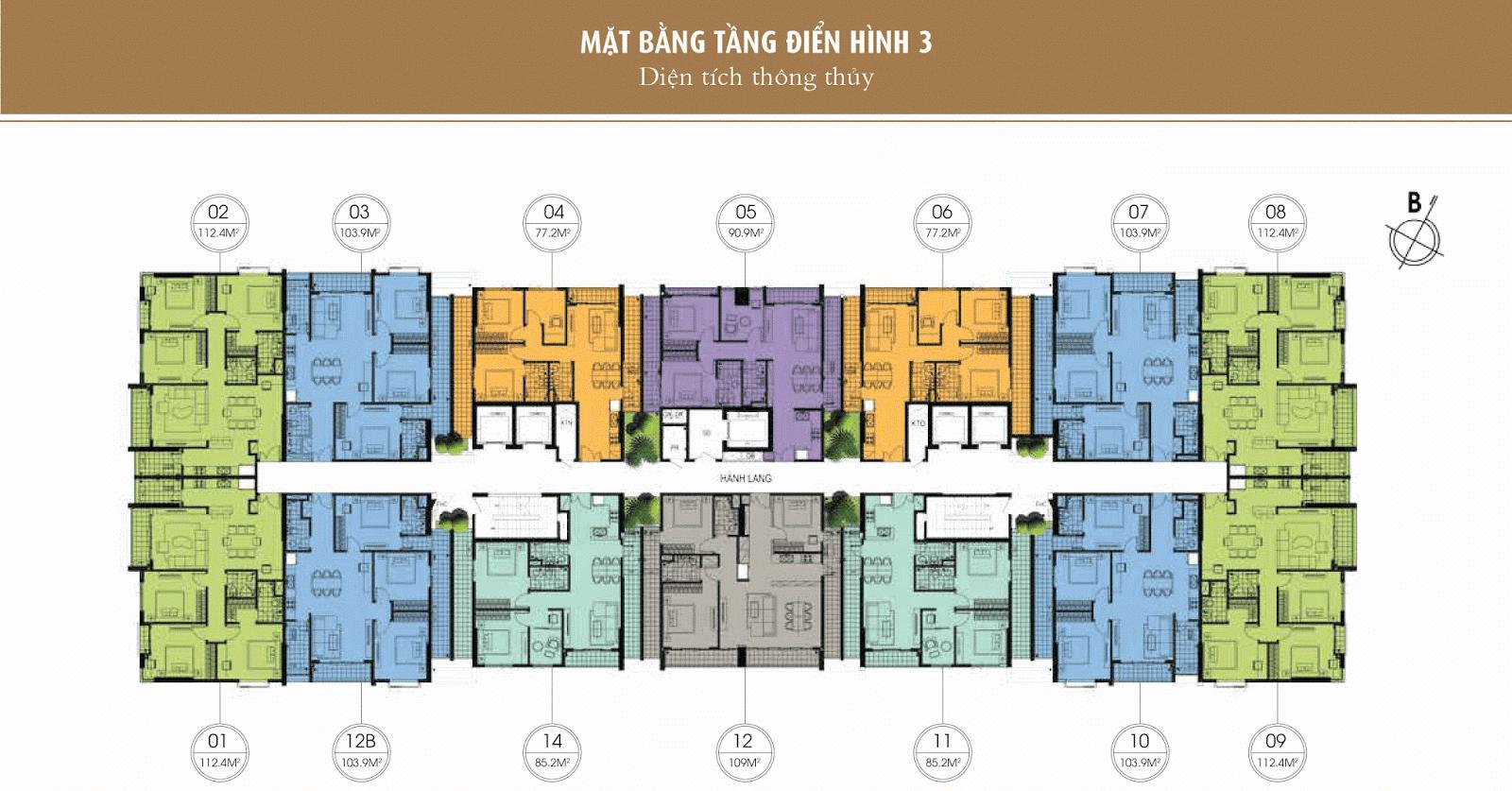 Mặt bằng thiết kế tầng 3 - One 18