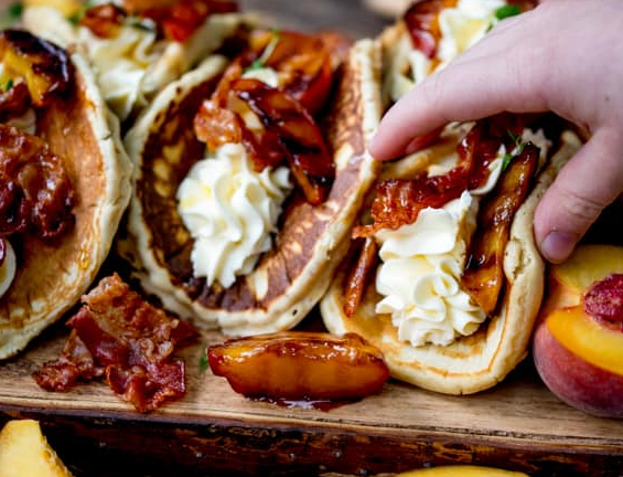 Pancake Tacos with Caramelized Peaches and Pancetta