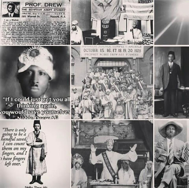collage of the various works of Prophet Noble Drew Ali and his Egyptian Adept card