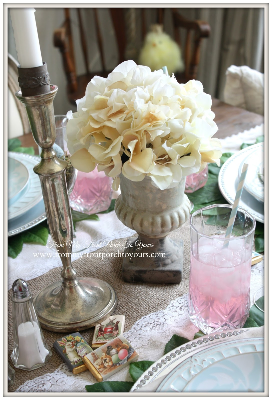 French Farmhouse Easter Dining Room-Hydrangea Floral Urn- From My Front Porch To Yours