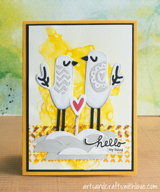 Cardmaking: Mixed media card: Hello my friend!