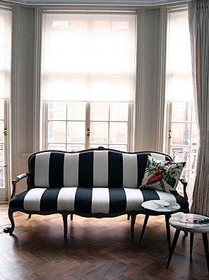 striped couch, painting upholstery fabric, chalk paint, painted couch