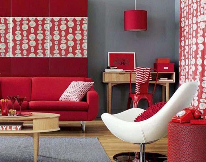kırmızı beyaz oturma odası tasarım fikirleri
