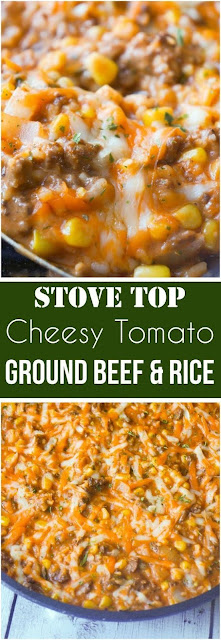 Cheesy Tomato Ground Beef and Rice