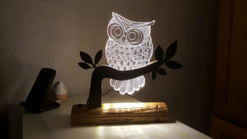3D Night Light Owl free dxf file laser engraving - cnc world